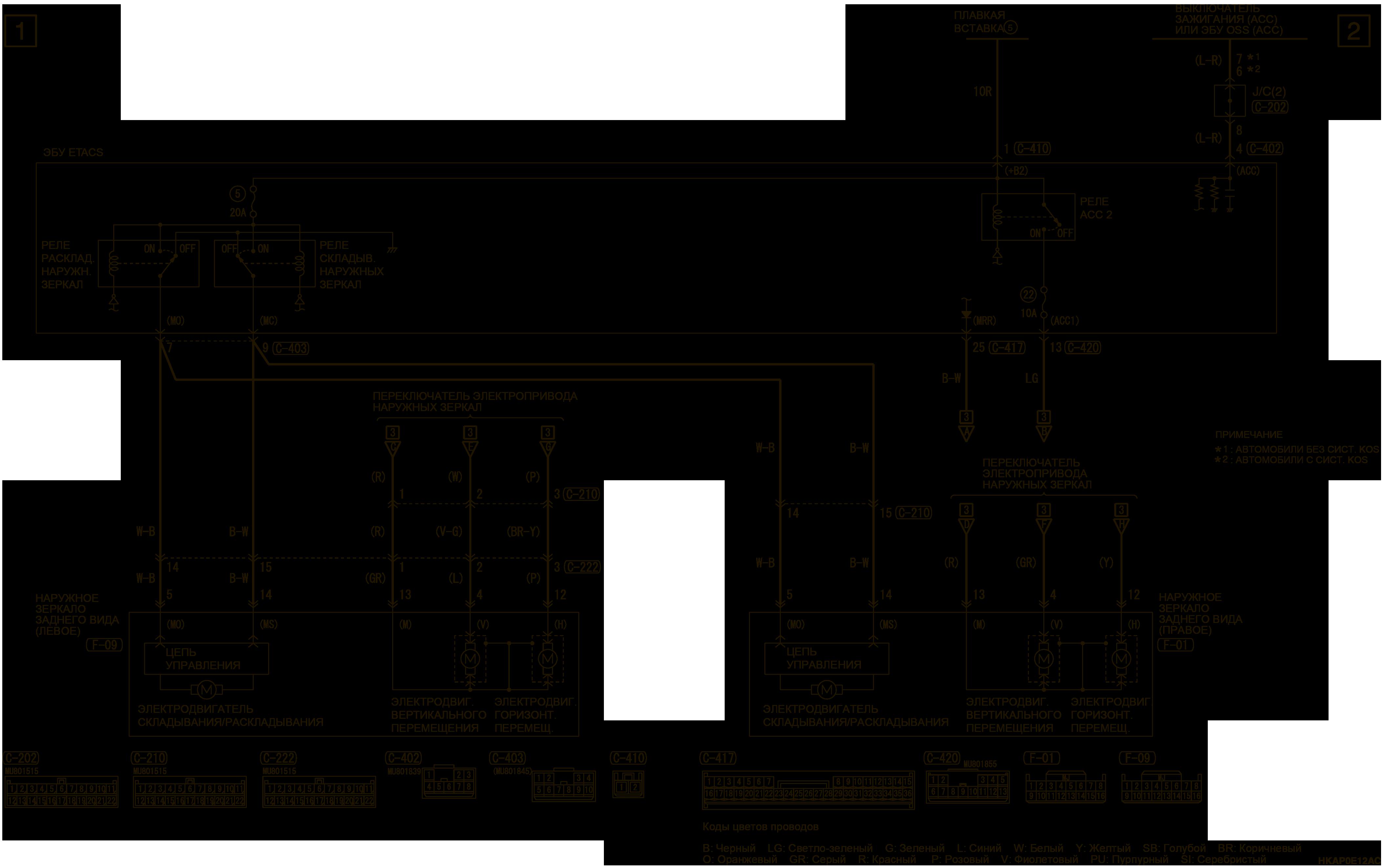mmc аутлендер 3 2019 электросхемаЭЛЕКТРОПРИВОД СКЛАДЫВАНИЯ НАРУЖНЫХ ЗЕРКАЛ ЗАДНЕГО ВИДА (СКЛАДЫВАНИЕ) ПРАВАЯ СТОРОНА