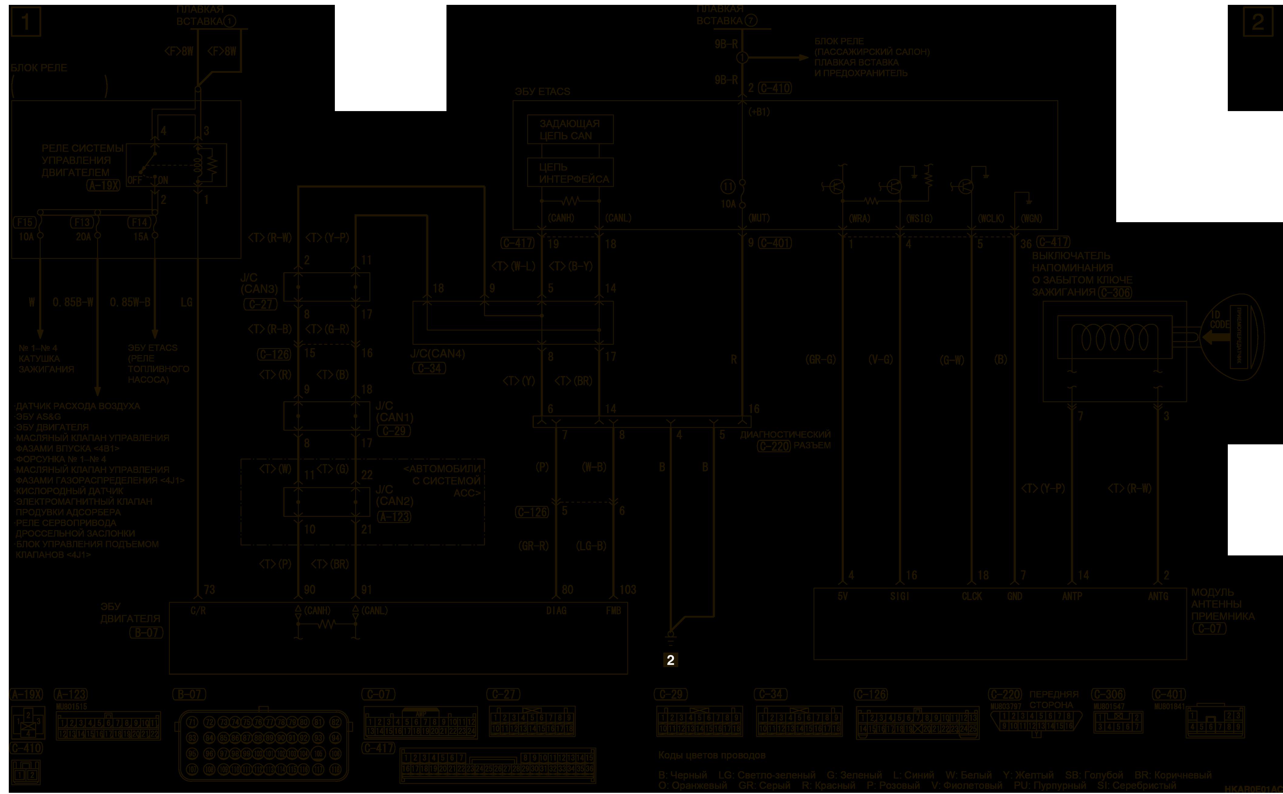 mmc аутлендер 3 2019 электросхемаИММОБИЛАЙЗЕР АВТОМОБИЛИ БЕЗ СИСТЕМЫ KOS (ПРАВОСТОРОННЕЕ УПРАВЛЕНИЕ)