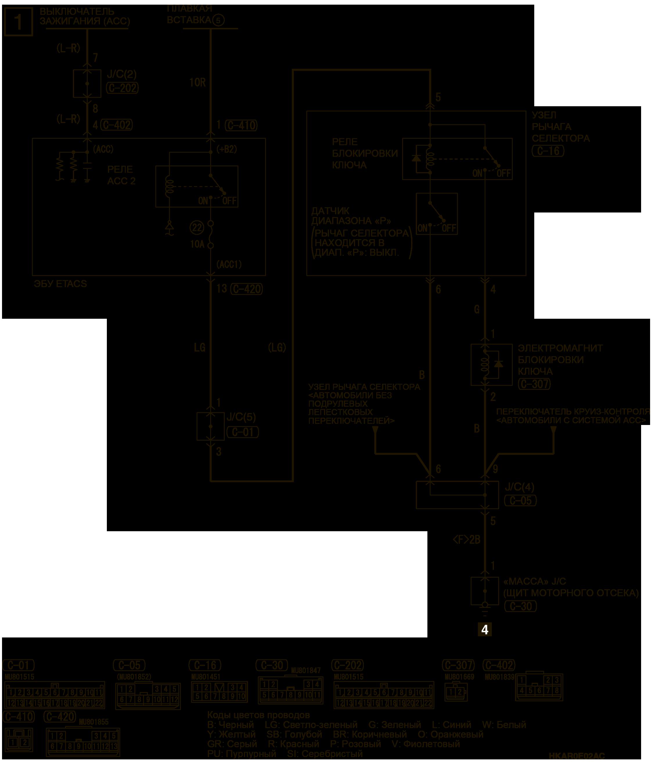 mmc аутлендер 3 2019 электросхемаБЛОКИРОВКА КЛЮЧА АВТОМОБИЛИ БЕЗ СИСТЕМЫ KOS (CVT)