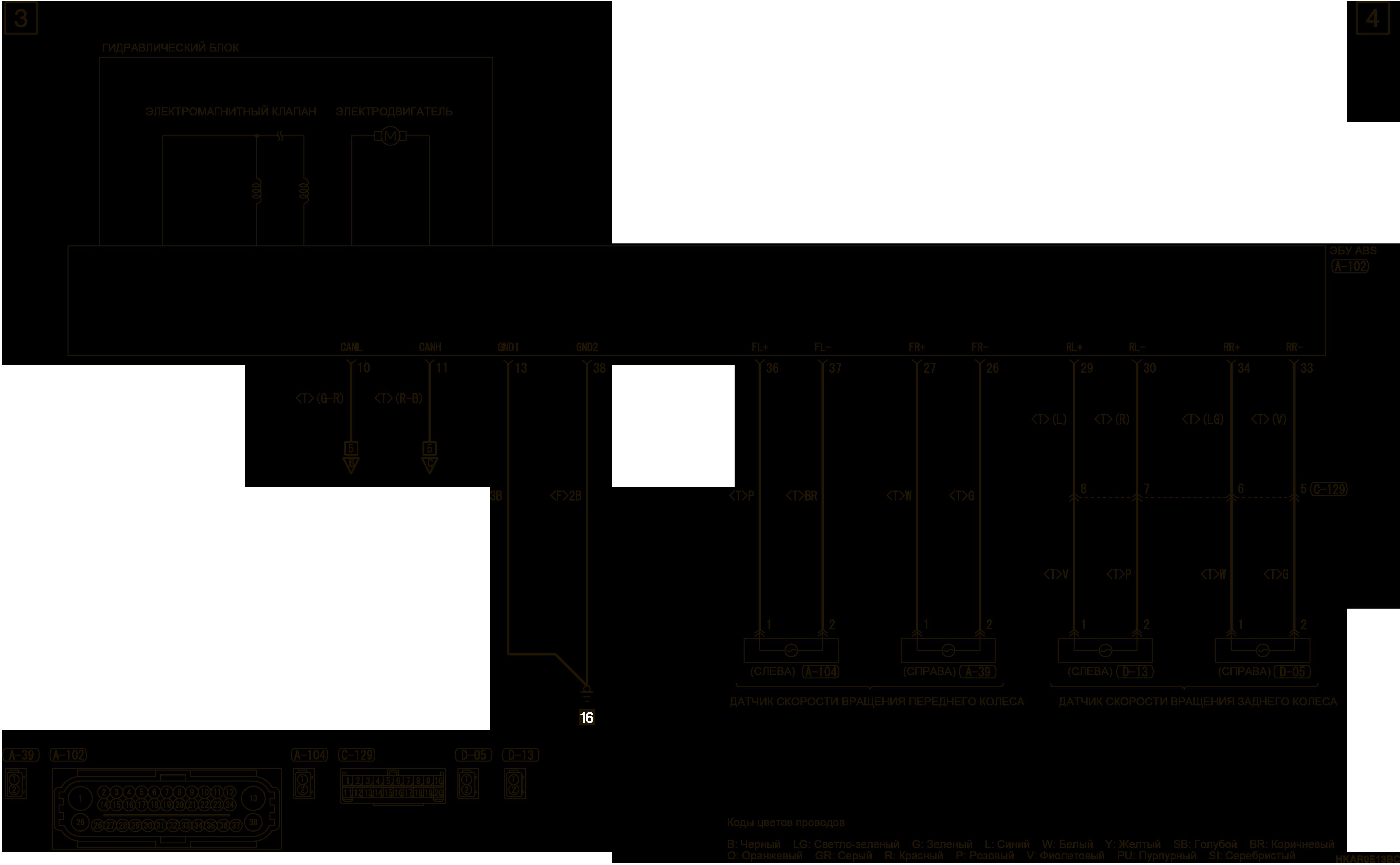 mmc аутлендер 3 2019 электросхемаАНТИБЛОКИРОВОЧНАЯ СИСТЕМА ТОРМОЗОВ (ABS)