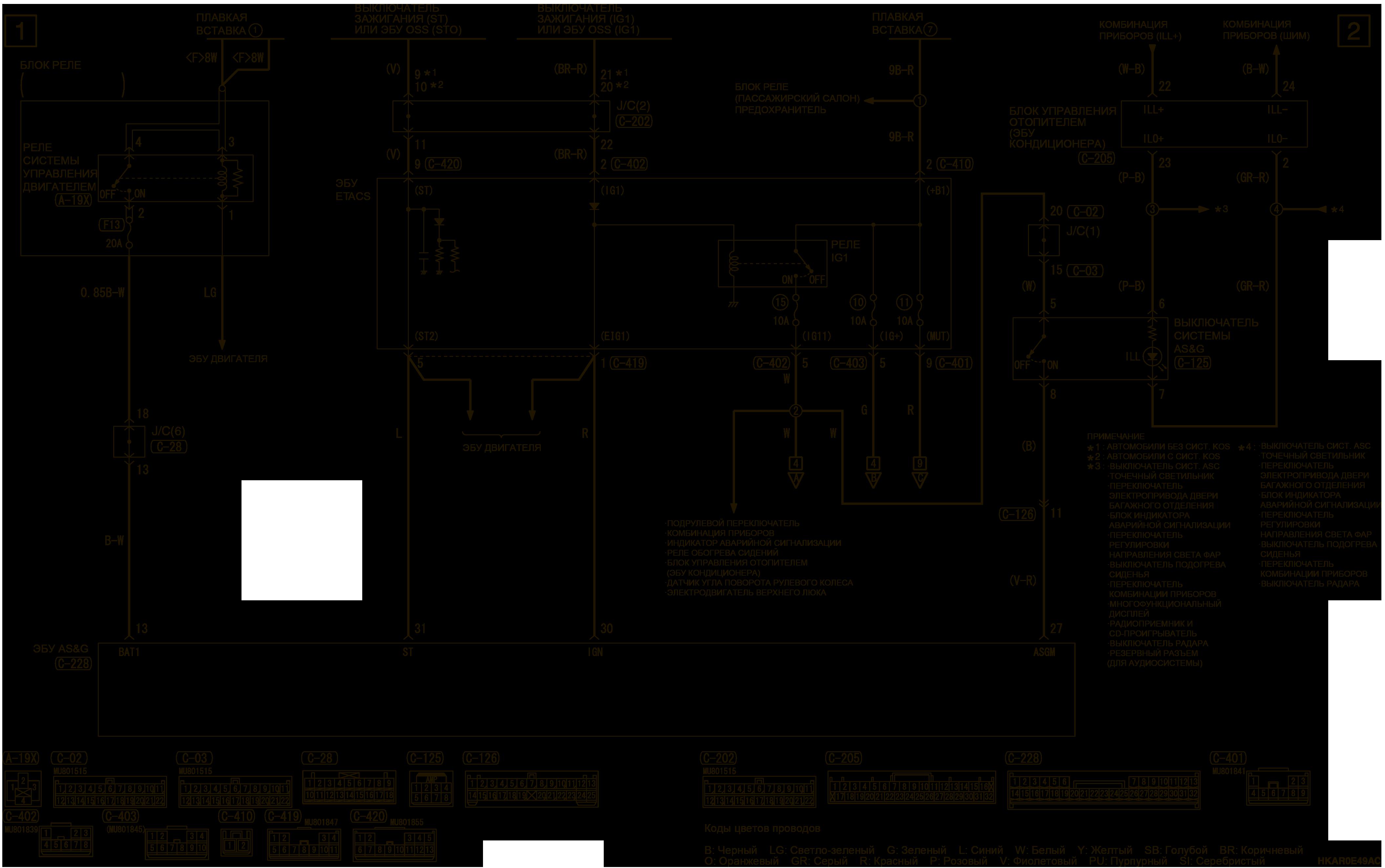 mmc аутлендер 3 2019 электросхемаСИСТЕМА АВТОМАТИЧЕСКОГО ОСТАНОВА И ЗАПУСКА ДВИГАТЕЛЯ (AS&G) 4J1-M/T