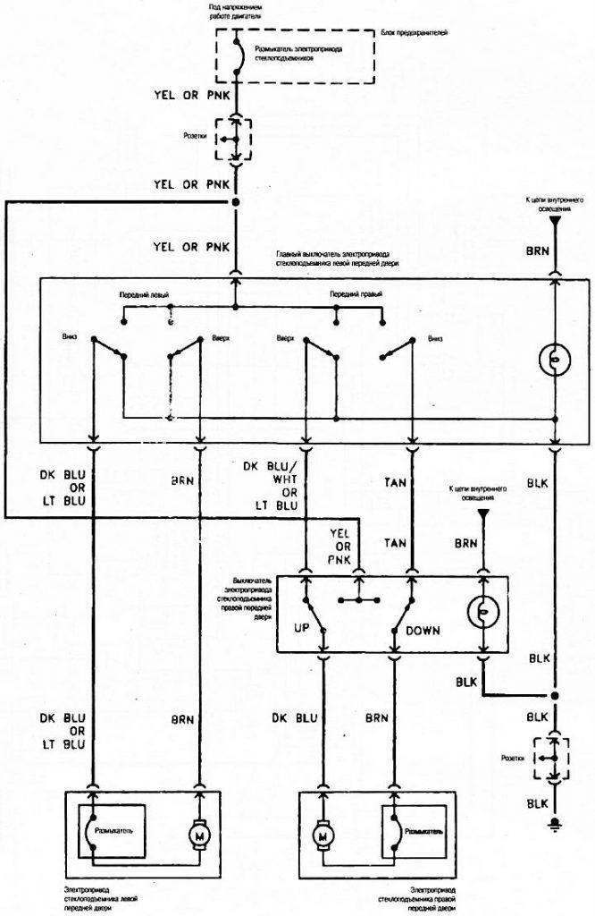 Шевроле Тахо 1992-2000 электросхема стеклоподъёмников