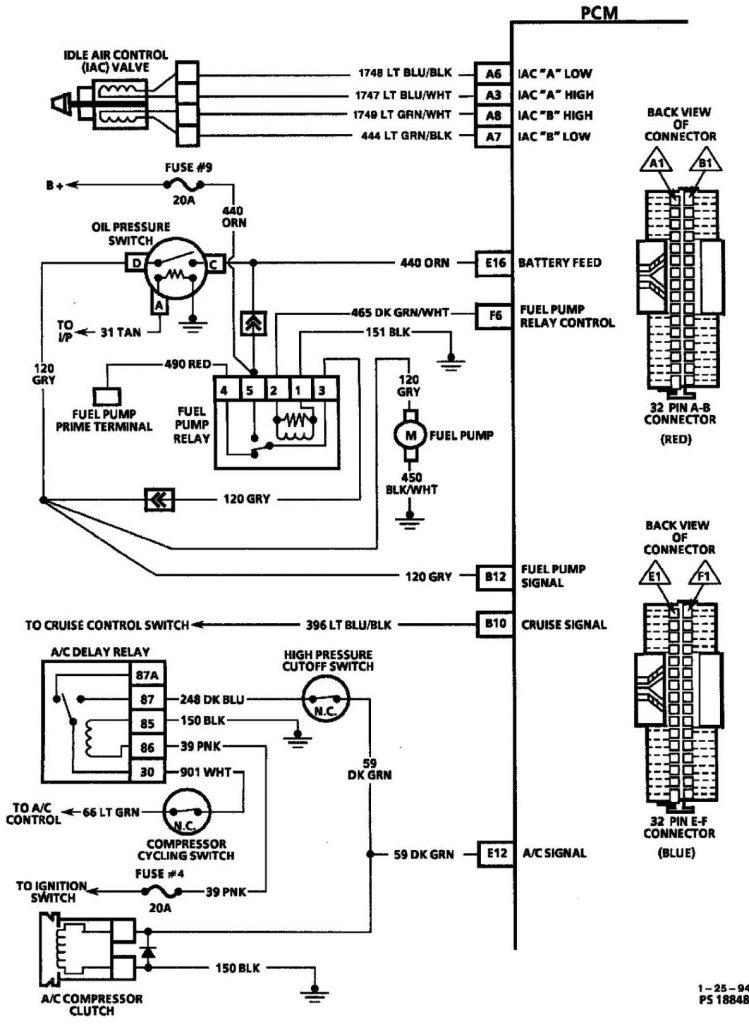 Shevy Blazer 1997 электросхема бензонасоса, клапана холостого хода и кондиционера