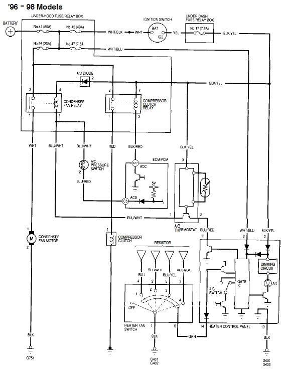 Хонда Цивик 96-98 электросхема отопителя и кондиционера