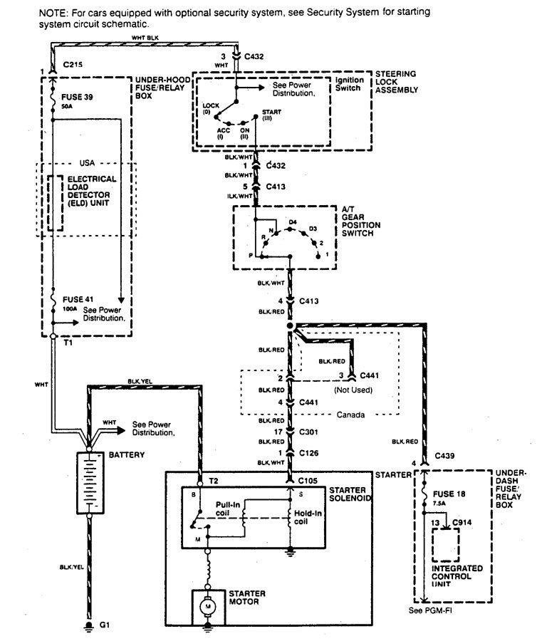 Хонда Акура Интегра 1997 схема стартера