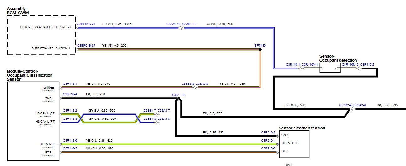 Jaguar xe occupant sensor wiring diagram, wire color