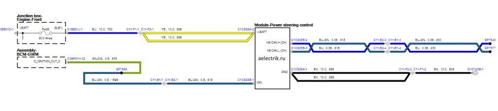 Схема электроусилителя Jaguar XE | power stering wiring diagram