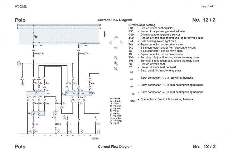 Схема подогрева сидений Volkswagen Polo Mk3   heated seat wiring diagram