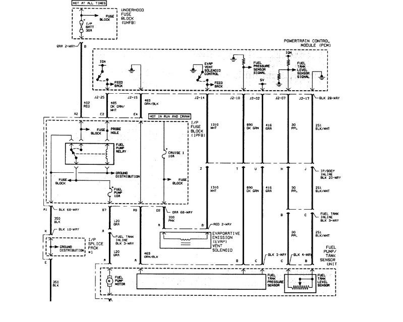 Saturn L-Series электросхема бензонасоса, реле
