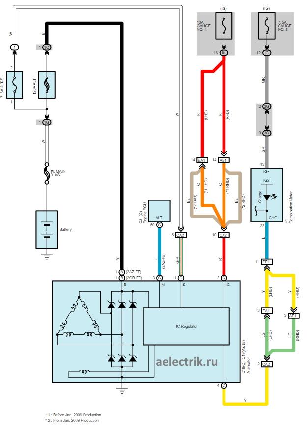alternator circuit toyota camry acv40, схема генератора система зарядки